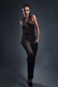 Model, Fashion, Jumpsuit, Black, Woman