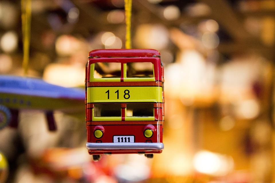 おもちゃの車, お土産, バス, おもちゃ, 赤, 錫車, 黄色, 金属, 装飾, ギフト, 装飾的な, 色