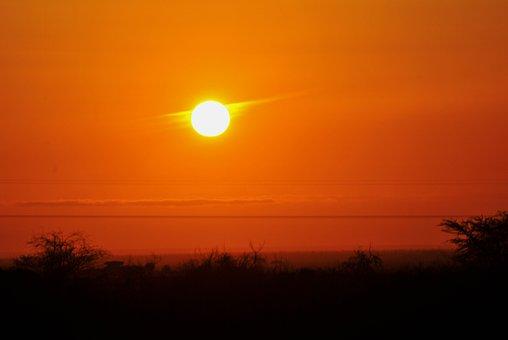 日落, 天空, 太阳, 晚上, 发光, 橙色, 风景, 景区, 农村, 黄昏
