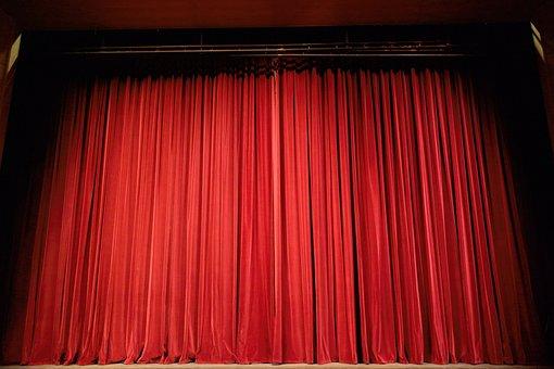 劇場, カーテン, ステージ, 赤, イベント, 行為, エンターテイメント