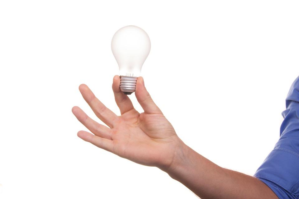 ランプ、アイデア、梨、ビュー、思考、インスピレーション