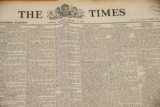 A classified ads page of The Times to signify 1,000 FREE Classified Ads Sites List