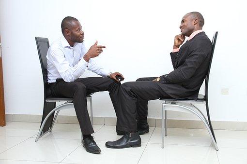 就職の面接, 同僚, ビジネス, ジョブのアプリケーション, インタビュー, 話
