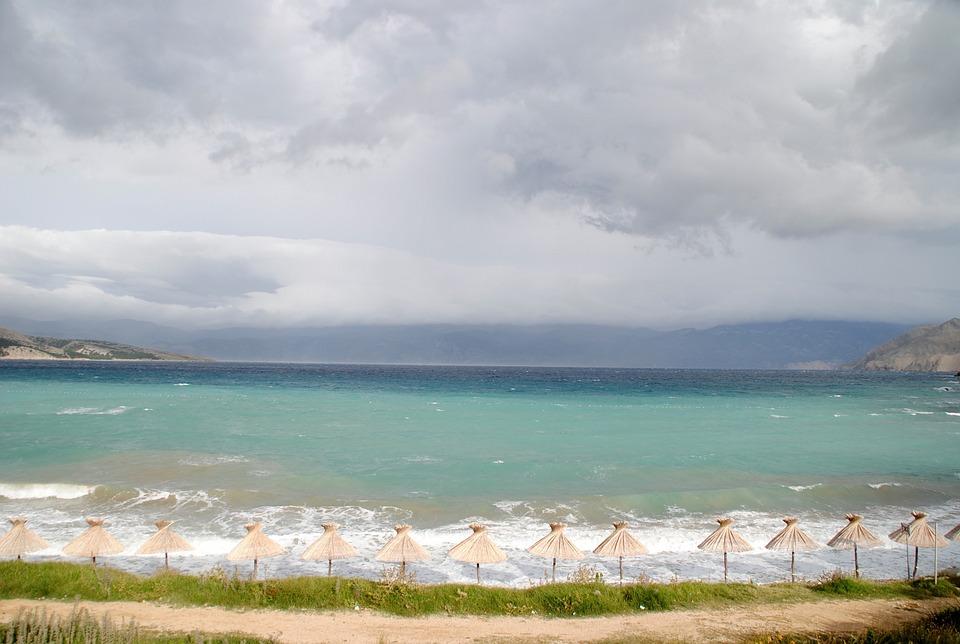 Croatia, Island, Krk, Baska, Mountains, Sea, Water