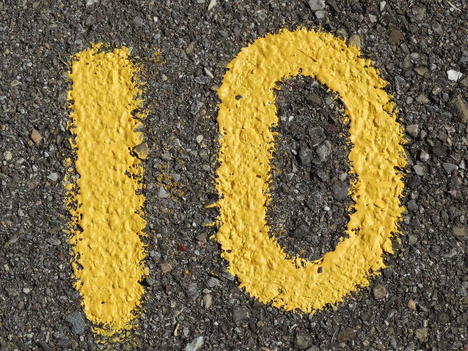 番号, 広告, 黄色, 色, アスファルト, 道路, 桁, 段落番号, 10
