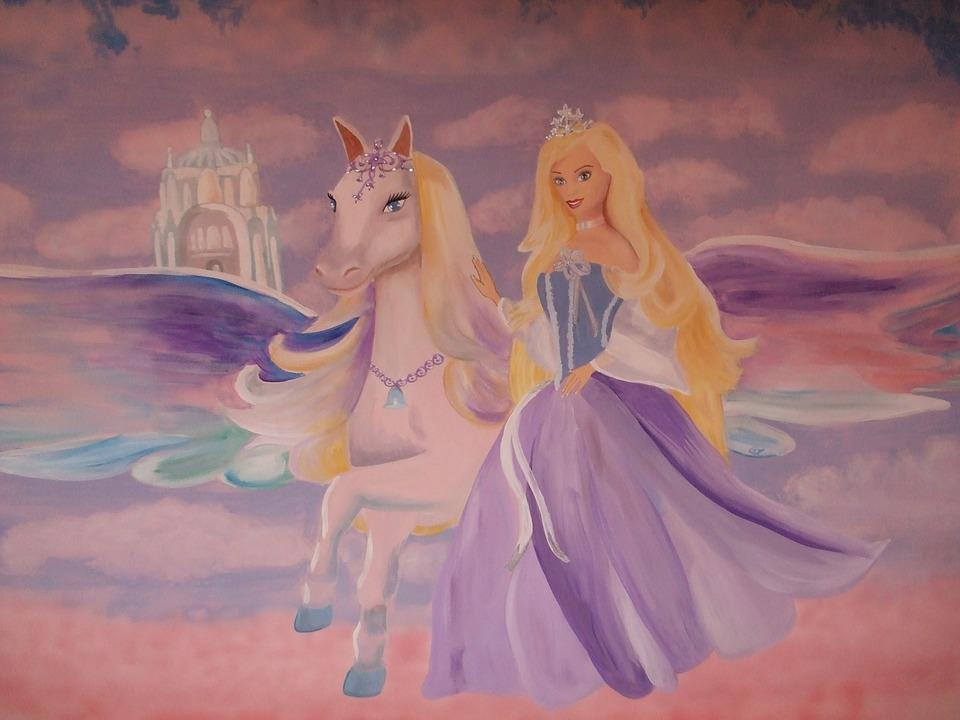 barbie pegasus wall painting free photo on pixabay