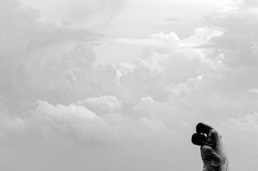 Silhouette Couple Black White Love Ma