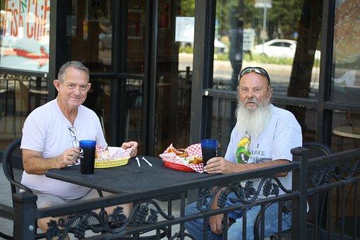Men, Lunch, Restaurant, Two, Eating