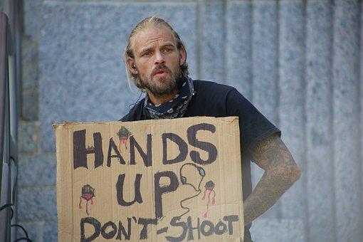 Protest, Mann, Außerhalb, Vergammelt