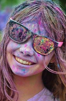 Girl, Colorful, Happy, Cool, Person