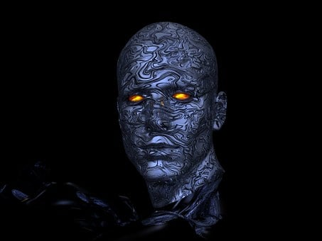 Cyborg Robot Head Futuristic Computer