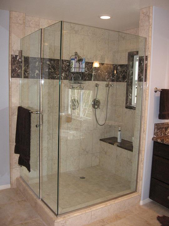 Dusche, Bad, Badezimmer, Große, Spa, Marmor, Fliese