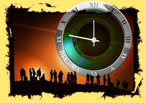 Human, Group, Clock, Time, Silhouette