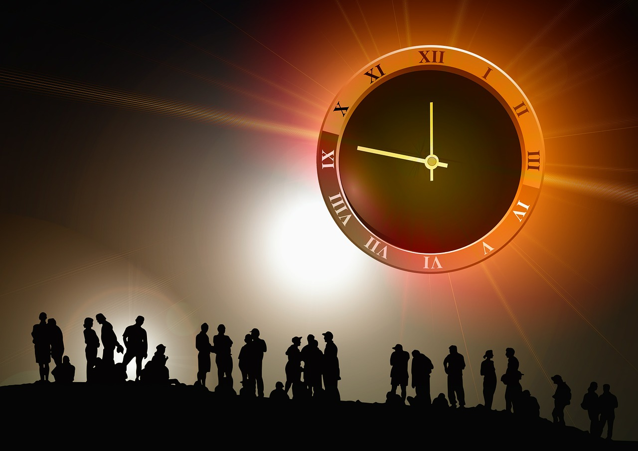 Clock and group of people