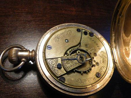 Pocket Watch, Watch, Gold, Antiq, Old