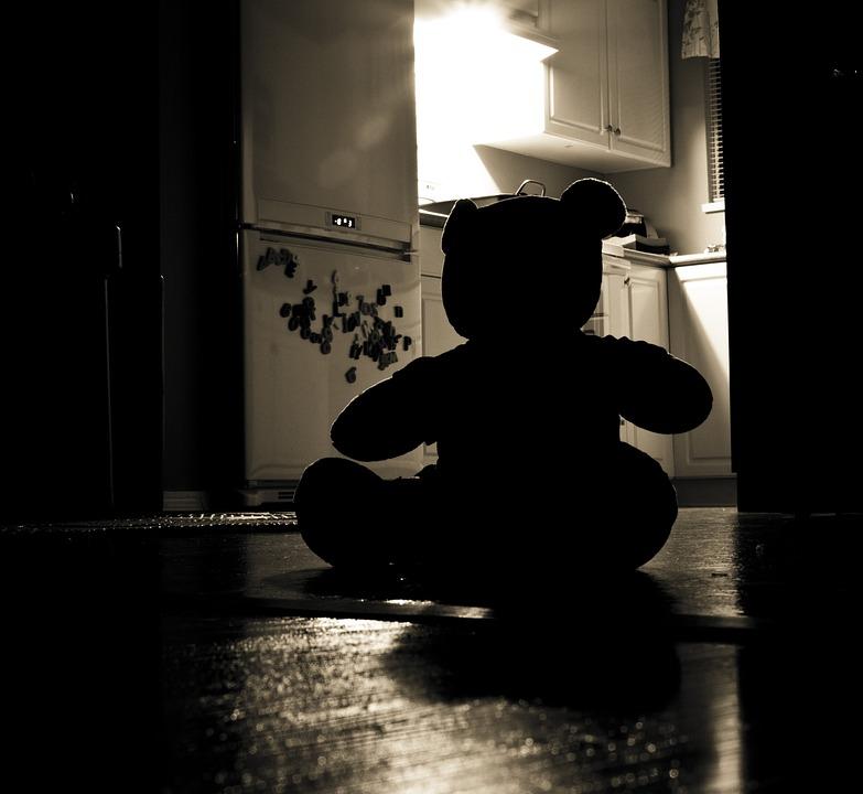 Teddybär, Silhouette, Böse, Nacht, Home, Problem