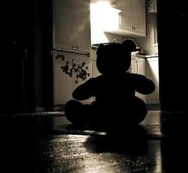 Teddy Bear, Silhouette, Evil, Night