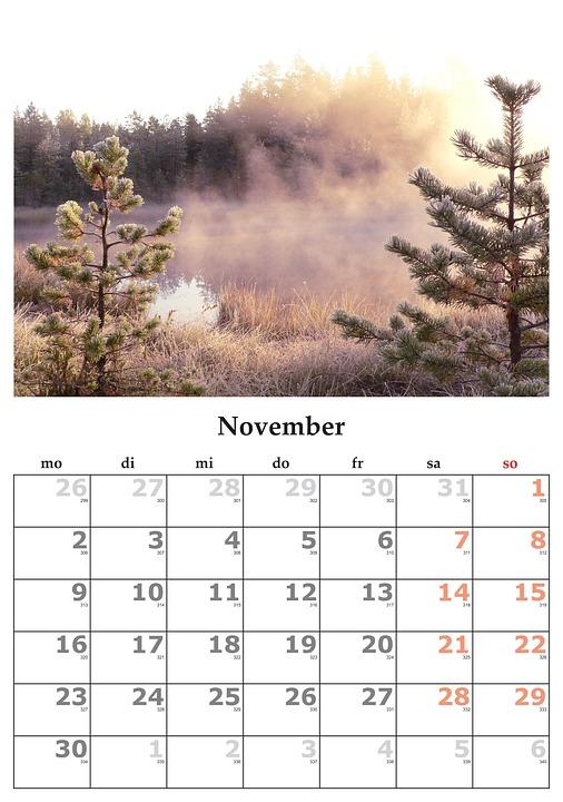 Calendar Lună Noiembrie Fotografie Gratuită Pe Pixabay