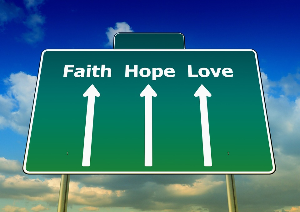 Faith, Love, Hope, Away, Straight, Road Sign, Sky