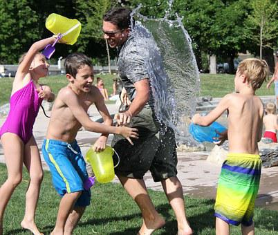 Water Fight, Children, Water, Play
