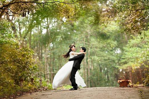 Couple, Mariage, Parc