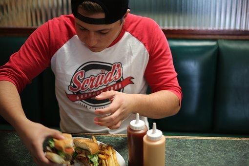 Fast Food, Uomo, Mangiare, Burger