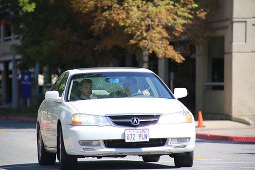 Sedan, Car, White, Driving, Traffic