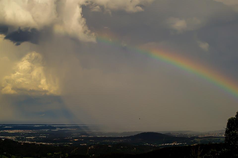 Rainbow Sky Weather Clouds Rain Change Front