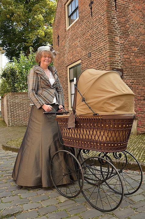 Wózek, Wiktoriański, Antyk, Sukienka, Moda