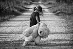 dziewczyna, walking, miś