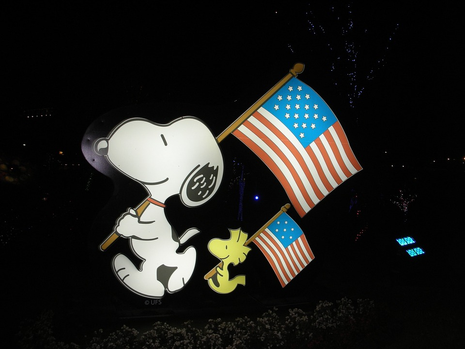 Free photo: Snoopy, Woodstock, American Flag - Free Image ...