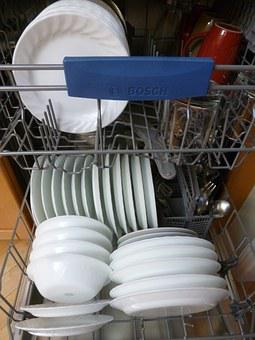 Dishwasher, Interior, Dishes, Kitchen