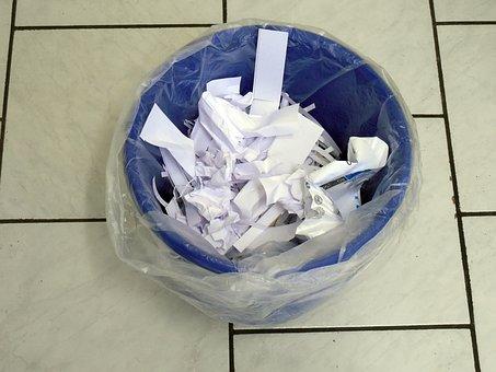 ごみ箱, 紙, 廃棄, ごみ, 廃棄物の紙, 紙の杭, 捨てる, 捨てる
