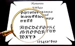 magnifying glass, calligraphy, font