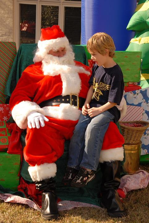 Santa, Santa Claus, Child, Boy, Lap, December, Xmas