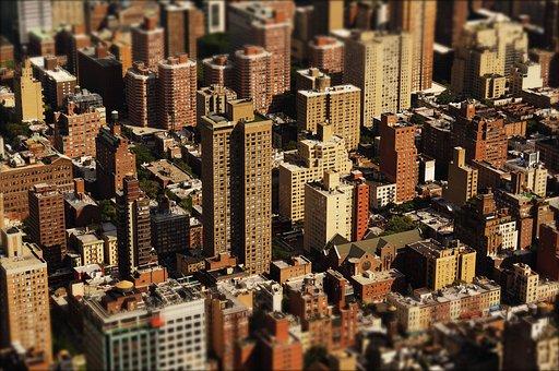 Skyscraper, Houses, City, America