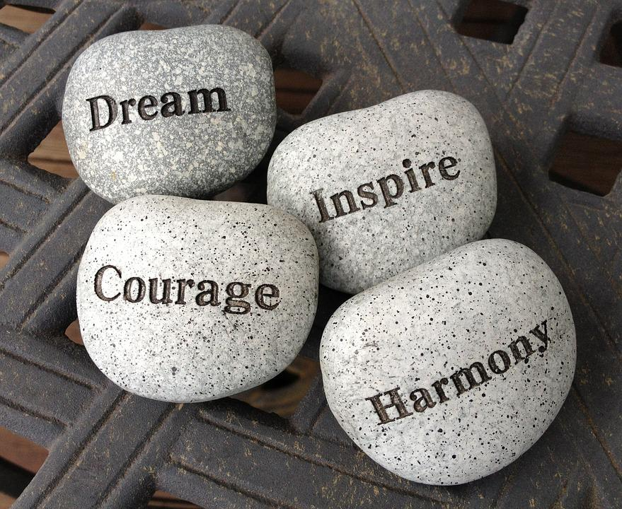 Stones, Dream, Inspire, Courage, Harmony, Rocks