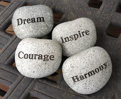 Stones, Dream, Inspire, Courage, Harmony