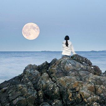 満月, 月, 女の子, 見, 海, 自然, 表示します, 占い, フル, 空