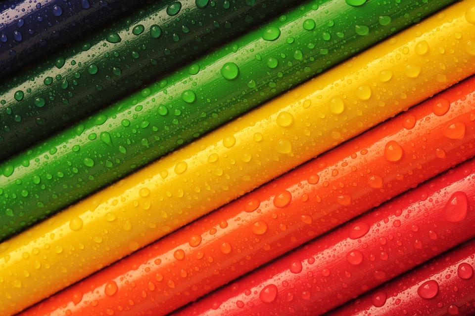 鉛筆, クレヨン, カラフルです, 虹, 色, 明るい, 美しい, スタイル, アート, デザイン