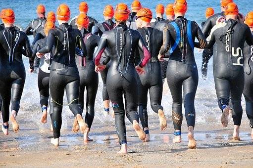 Triathlon, Ironman, Swim, Sea, Water