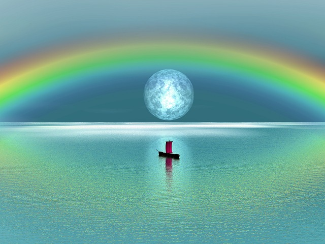 Illustration gratuite arc en ciel lune lac voile - Image arc en ciel gratuite ...