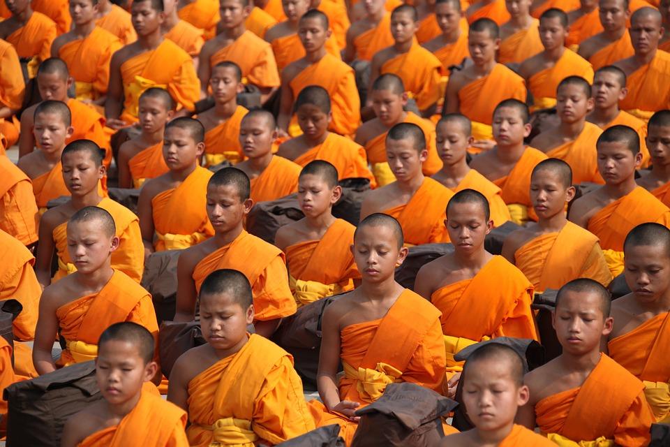Buddhists, Monks, Meditating, Thailand, Buddhism