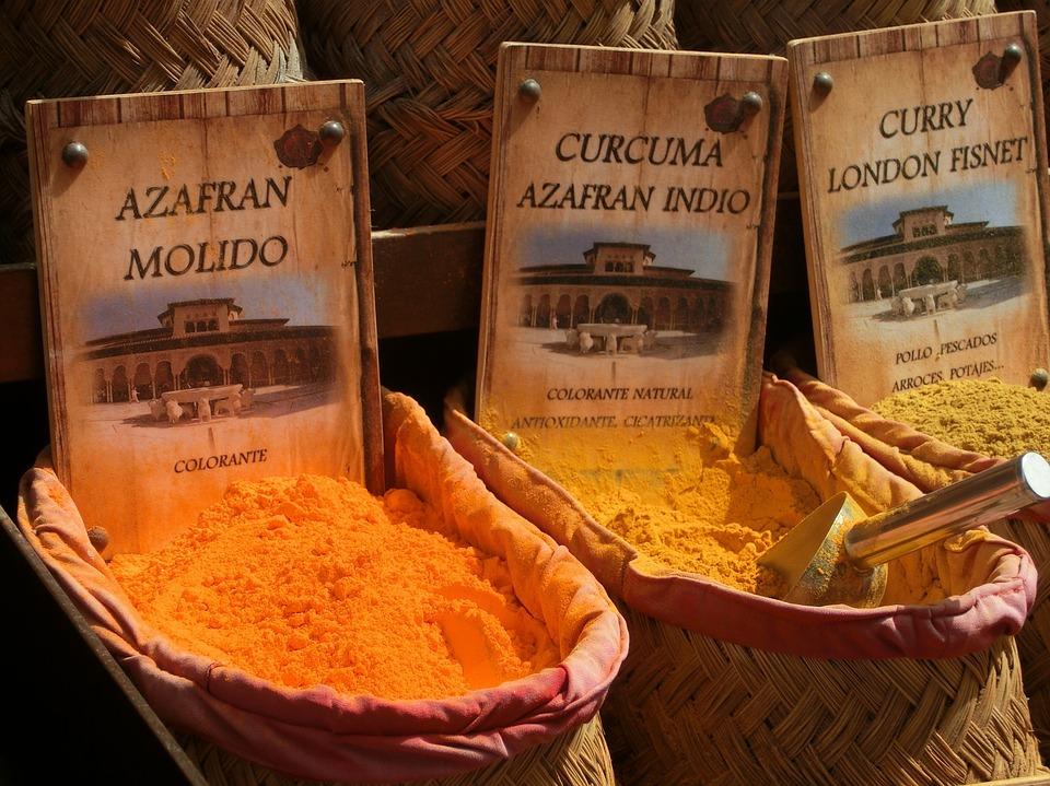 Zafferano, Curcuma, Curry, Spezie, Polvere, Colore