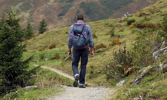 登山, 男, 山, 男性登山家, 放浪者, バックパック, ハイキング, 距離