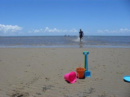 Sand, Bucket, Spade, Sea, Ocean, Shovel