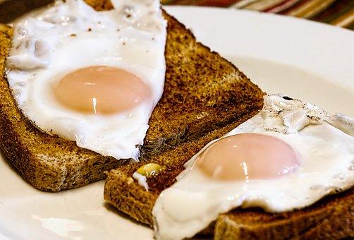 朝食, トースト, 食品, 揚げ卵, 卵, 食事, パン, おいしい
