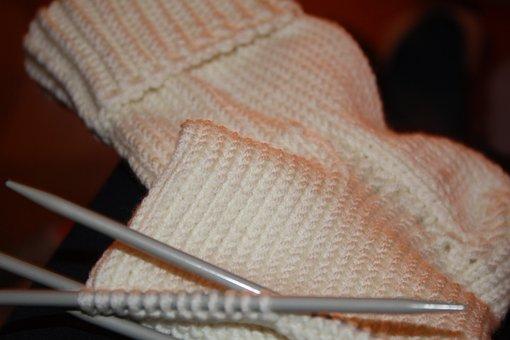 Stocking, Knit, Wool, White