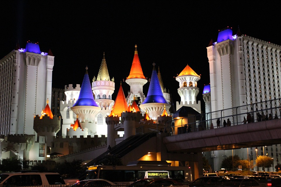Las Vegas, Zamek, Hotel, Gier, Vegas, City, Kolorowe