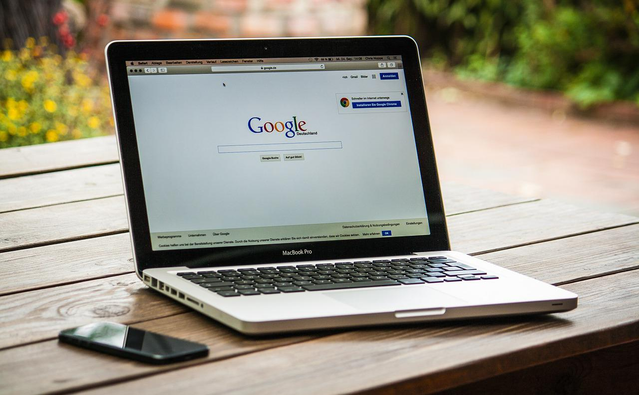 image of laptop with Google.com